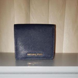 Michael Kors Liane Foldover Wallet Navy Blue